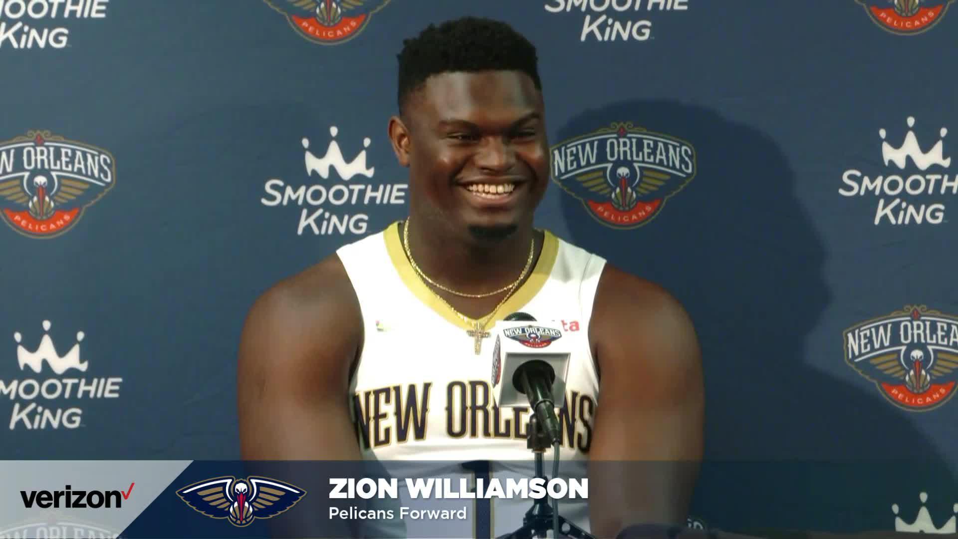 Zion Williamson speaks on his offseason, David Griffin | Pelicans Media Day 2021 Interviews