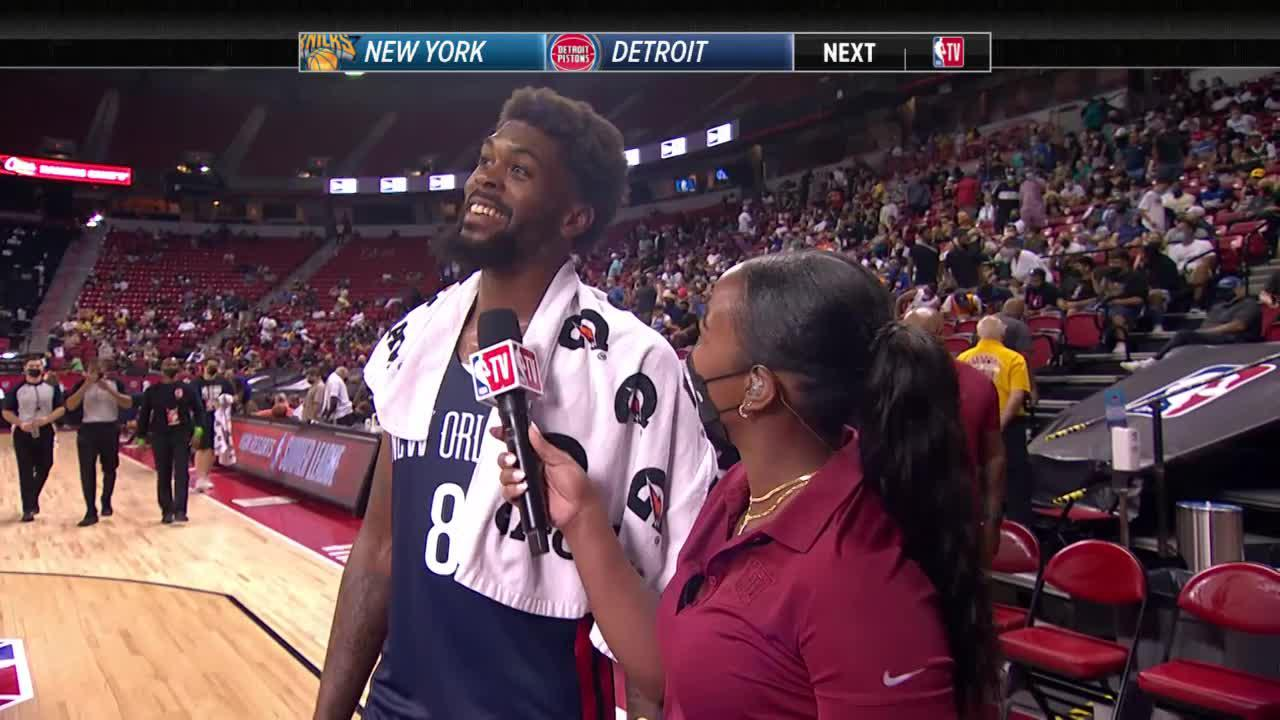 Naji Marshall on-court interview after Pelicans win vs. Cavaliers at 2021 NBA Summer League