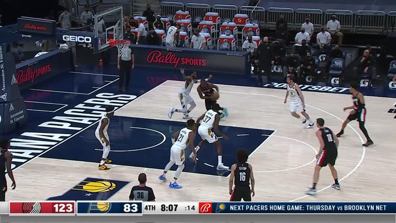 Brimah Rebounds and Scores on the Other End